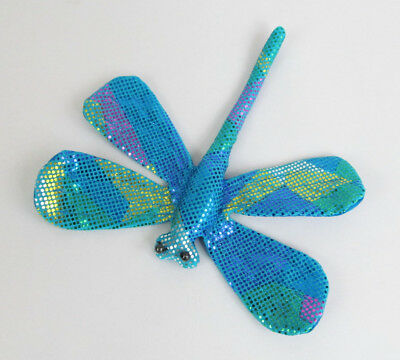 Shimmery Turquoise Pink Blue Yellow Green Silk Fabric Dragonfly Beanbag Toy