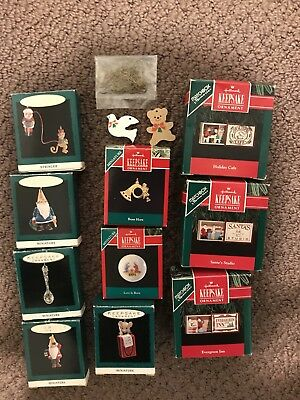 Hallmark Keepsake Ornaments Lot of 10 BOXED Miniature & Matchbox 1990 1991 1993