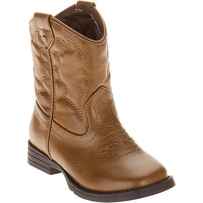 Faded Glory Infant/Toddler Boys' Western Brown Slip-on Boots/Shoes: 2-11