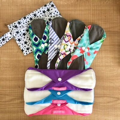 Reusable Cloth Pads Trial Pack- 7 pads plus FREE mini wet bag