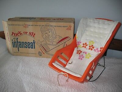 Vintage 1970 Orange Plastic Baby Carrier Original Box Excellent Condition
