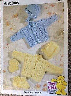Vintage Patons Baby Knitting Pattern Book 1078 Tiny Sizes For Early Arrivals