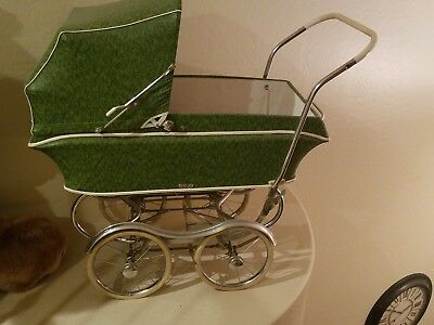 Stroll-O-Chair Stroller Vintage Green Chrome Rex Hood Cover 1960s Baby Carriage