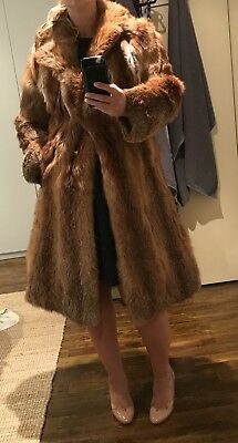 Vintage Genuine Fox Fur Coat, Size Medium