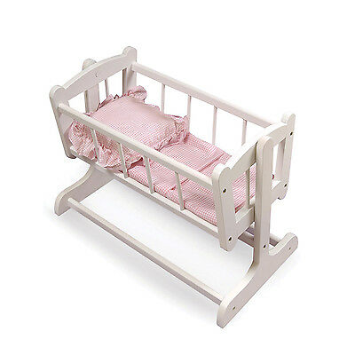 Rocking Doll White Finish Cradle With Pink Gingham Bedding For 56cm Dolls