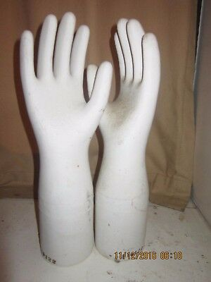 """Two Large 15"""" Vintage Trenton Industrial Glove Molds Hands Mid Century"""
