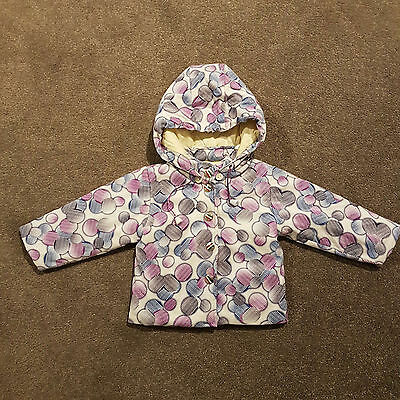 Baby Toddler Girl Quilted Padded Removable Hooded Jacket Purple Winter Size 1