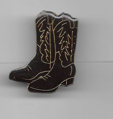 Vintage Pair Brown with gold details Cowboy Boots old enamel pin