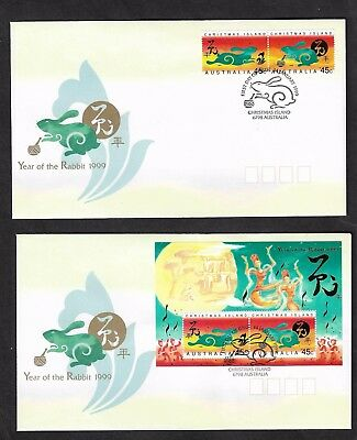 CHRISTMAS ISLAND 1999 Chinese New Year, Year of the Rabbit, FDC x 2 covers