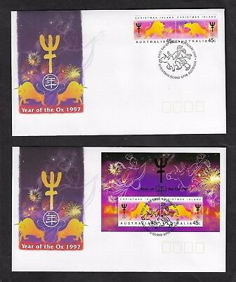 CHRISTMAS ISLAND 1997 Chinese New Year, Year of the Ox, FDC x 2 covers