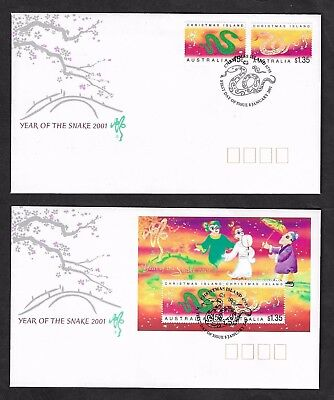 CHRISTMAS ISLAND 2001 Chinese New Year, Year of the Snake, FDC x 2 covers