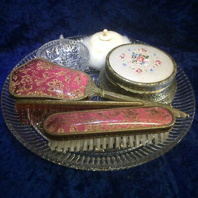 Vintage Dressing table set With Brush and Comb Set, Powder Bowl, Powder Puff