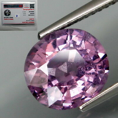 3.60Ct.FREE! Certificate Natural BIG Lavender Spinel MaeSai,Thailand Full Fire!