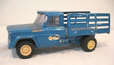 Vintage 1960's Blue Pressed Steel TONKA ~ JEEP Stake Body Farm Truck w/Tilt Bed