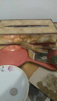 Job lot antique vintage curios mirror hairbrush tissue box,photographs Jewellery