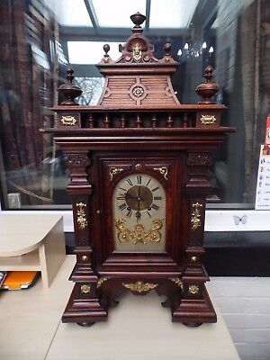 "Huge 32"" Bracket Clock Rosewood Ormolu Case 8 Day Movement By German Maker Rsm"