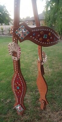 Western bridle & breastplate no reins included - red with blue and gold jewels
