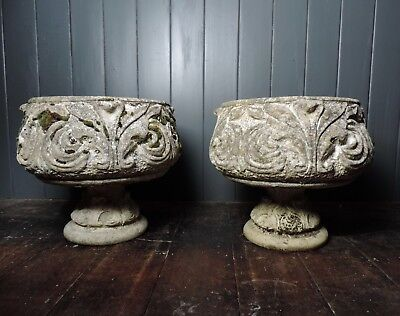 Original Pair of Antique Reclaimed Victorian Stone Urn Planters