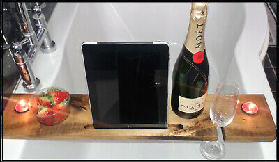 Wooden Bath Caddy - Wood Tray Bridge Shelf - Tablet books Phone wine holder 70cm