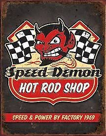 Speed Demon Hotrod Shop Tin Sign New Garage Shed Ford Ratrod Rustic