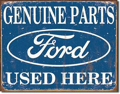 Genuine Ford Parts  Here Tin Sign Garage Shed Rustic Hotrod Ratrod