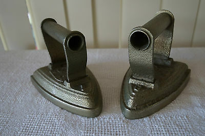 Vintage Antique Cast Iron Irons Brass Dipped