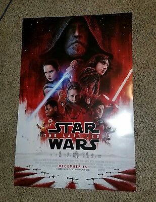 Star Wars 8 Last Jedi Original DS Movie Poster Rare 27x40 double sided MINT