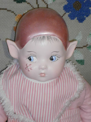 """14"""" Artist  Hand Made Ceramic Elf Doll With Side Glancing Eyes"""