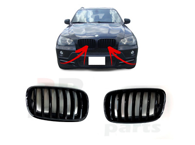 New Bmw X5 E70 X6 E71 Black Glossy Pair Kidney Grille Right+Left Set 2007-20012