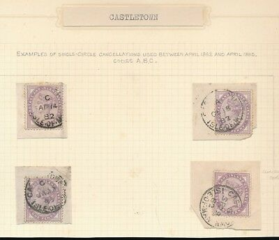 ISLE of MAN 1882-3 QV CASTLETOWN CANCELS CODES A + B + C...B REVERSED...4 ITEMS