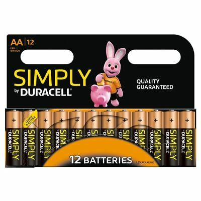 12 x Duracell Simply AA Alkaline Batteries LR6 MN1500 Alkaline 1.5V Long Lasting
