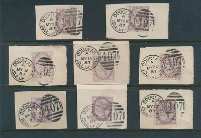 ISLE of MAN 1887 FULL DUPLEX CANCELS 8 DIFFERENT DATES in MAY