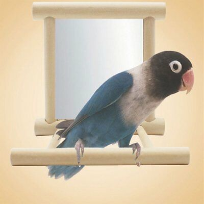 Wooden Bird Toy Mirror Stand Holder Toys For Parrots Cockatiel Decor Gift