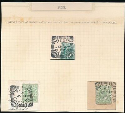 ISLE of MAN 1902-06 PEEL SQUARED CIRCLE POSTMARKS CODES D + F...3 ITEMS