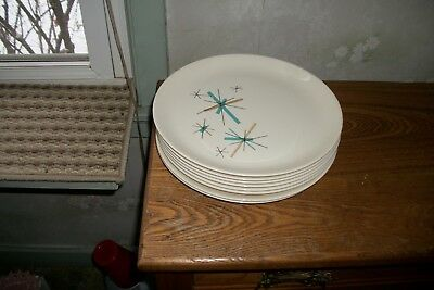 "Vintage Salem ""north Star "" Atomic Starburst Dessert- Plates  (8Pc. Set )"