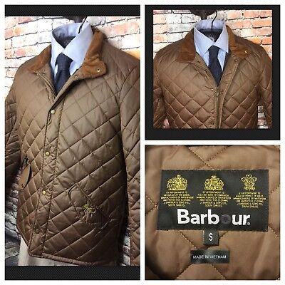 Barbour Quilted Jacket Coat Chelsea Sports Sandstone Brown Mens Small