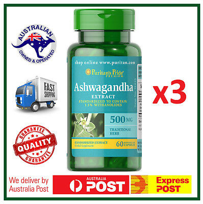 3x PURE ASHWAGANDHA 500 mg - Anxiety & Stress Relief - 180 Capsules VALUE PACK