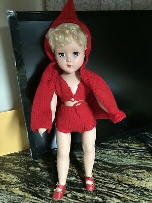 """Vtg R & B Arranbee 14"""" Blonde Composition Doll Lil Red Riding Hood? Gorgeous"""