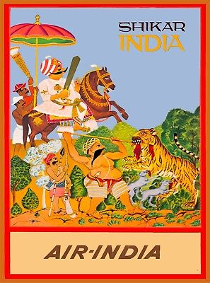 Shikar Air-India Vintage India Airline Travel Advertisement Art Poster Print