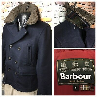 Barbour Penston Double Breasted Navy Pea Coat Tartan Plaid Lining Men's  XL $599