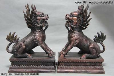 Chinese Red Bronze Copper Fengshui Foo Dog Lion Kilin Kylin Brave troops Pair