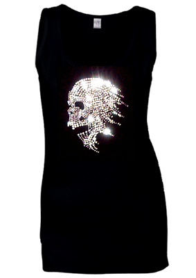 e81437290e58a LADIES Skull Biker Rhinestone Gothic VESTS Tank Tops all sizes 8-16