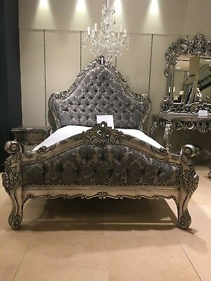 Large Mahogany Boudior Antique Silver Leaf Grey Damask French Ornate king Bed