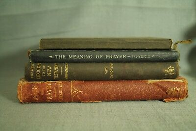 lot antique old books Greek English Lexicon Catechism Prayer distressed decor