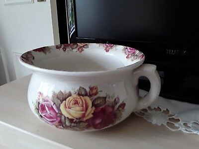 Cream decorative floral tea-rose pot/planter or chamber pot