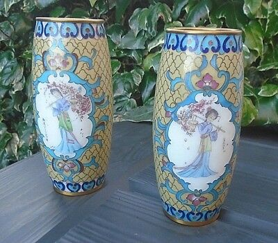 """Vintage Pair 6"""" CHINESE CLOISONNE Mustard & Turquoise Maidens Decoration Vases"""