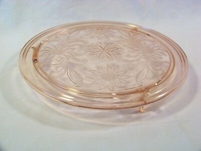 "10"" Pink Jeanette Depression Glass Sunflower Cake Plate"