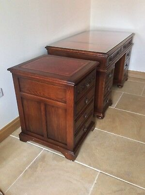 Large Oak Old Charm Leather Topped Desk and Old Charm Filing cabinet