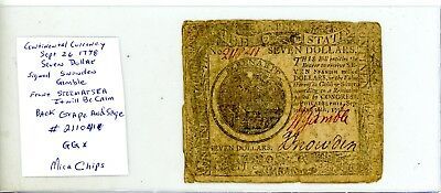 $7 SEPT 26,1778 CONTINENTAL CURRENCY Snowden Gamble Signed # 2110