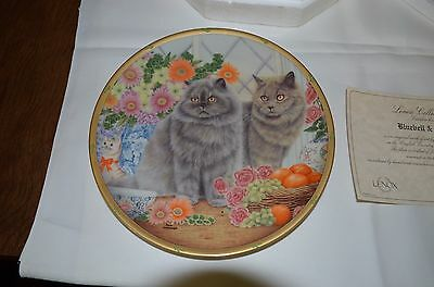 """1995 Lenox English Country Cats Plate Collection Anne Mortimer """"bluebell & Sage"""""""